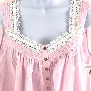 Eileen West Intimates & Sleepwear - Eileen West Nightgown Pink Cotton Womens Lace Trim